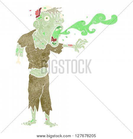 freehand drawn retro cartoon gross zombie
