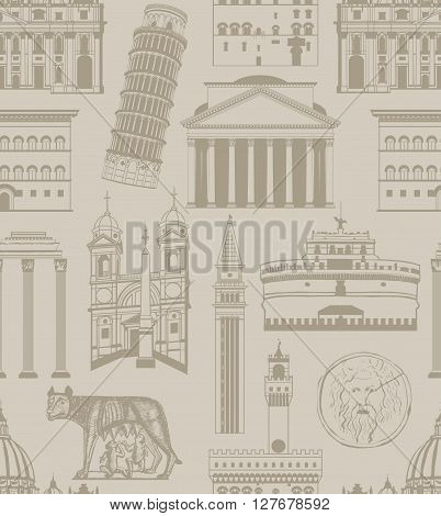 vector seamless beige background with famous Italian landmarks
