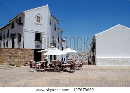 ANTEQUERA, SPAIN - JULY 1, 2008 - Pavement cafe in the Plaza de Santa Maria Antequera Malaga Province Andalucia Spain Western Europe, July 1, 2008.