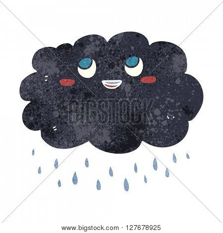 freehand drawn retro cartoon raincloud
