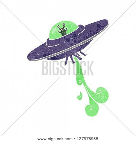 freehand retro cartoon alien spaceship