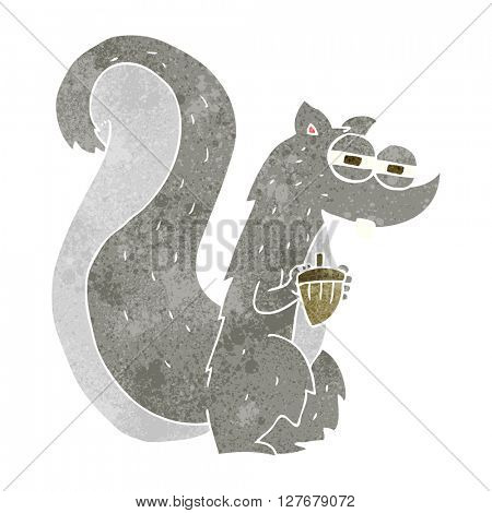freehand retro cartoon squirrel with nut