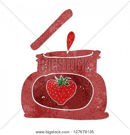 freehand retro cartoon popping jar of jam