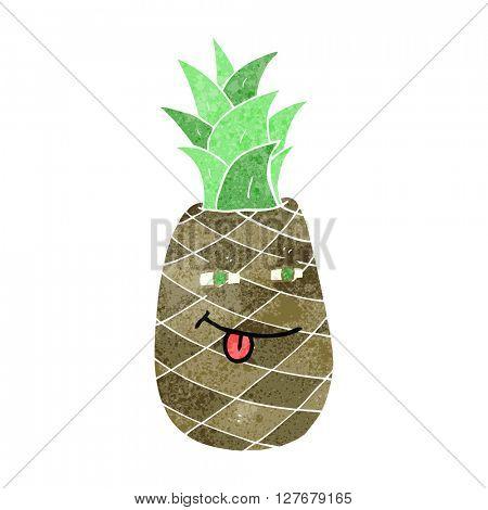 freehand drawn retro cartoon pineapple