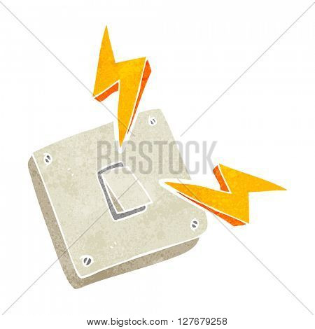 freehand retro cartoon sparking electric light switch