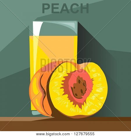 A glass of yellow peach juice and a half peach with kernel on a table digital vector image.