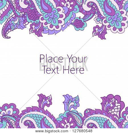 Abstract horisontal paisley border with place for your text. Good  for page decoration, invitation, greetings cards  or announcements.
