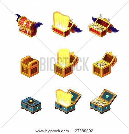 Flash Game Trasure Chest Collection Of Detailed Flat Isolated Icons On White Background In Graphic Vector Design