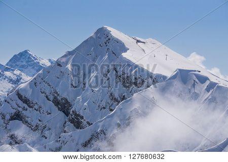 Mountain peak and blue sky