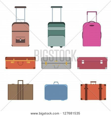 Colorful travel bag icon set. Carry on luggage collection. Vector illustration