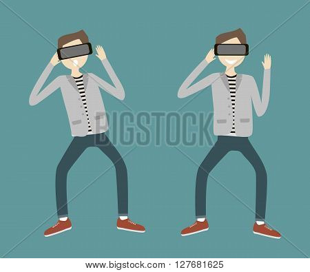 Set of a man with virtual reality headset. Vector flat design illustration. Happy and amazed guy using device for virtual reality. Flat style characters.
