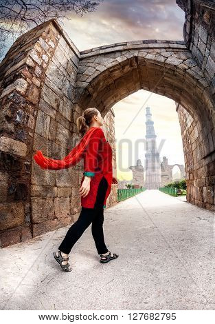 Woman Going To Qutub Minar