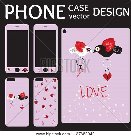 Mobile phone screen and cover back collection with flowers hearts love birds lock and key on violet background. Set of Illustration and template for phone case.