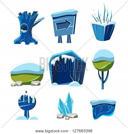 Flash Game Winter Level Design Collection Of Elements In Cute Vector Childish Style Isolated On White Background