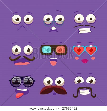 Facial Design Elements Set Of Funny Primitive Cartoon Vector Design Flat Stickes On Violet Background