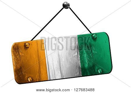 Ivory coast flag, 3D rendering, grunge old sign on a rope