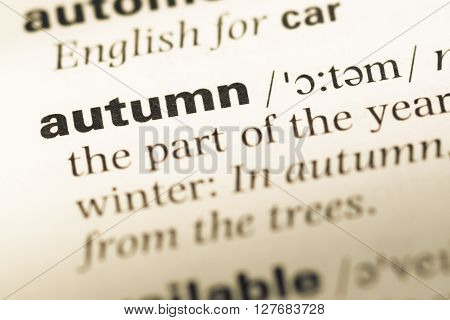 Close Up Of Old English Dictionary Page With Word Autumn.