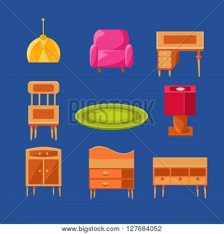 Living Room Objects Set Of Flat Isolated Vector Simplified Bright Color Design Icons On Blue Background