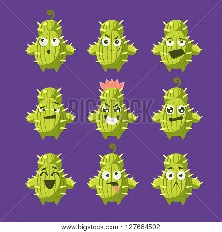 Cartoon Cactus Emoji Set Of Flat Isolated Funny Vector Icons In Childish Style On Purple Background