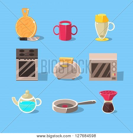 Kitchen Appliences Set Of Flat Isolated Vector Simplified Bright Color Design Icons On Blue Background