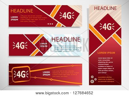 4G Sign Icon On Vector Website Headers, Business Success Concept.