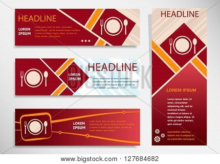 Plate Fork And Spoon Vector Website Headers, Business Success Concept.