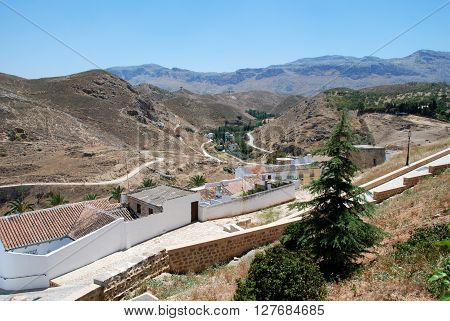 View from the rear of Santa Maria church looking East towards the mountains Antequera Malaga Province Andalucia Spain Western Europe.