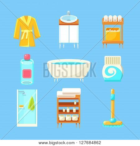 Bathroom Things Set Of Flat Isolated Vector Simplified Bright Color Design Icons On Blue Background