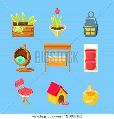 Garden Stuff Set Of Flat Isolated Vector Simplified Bright Color Design Icons On Blue Background
