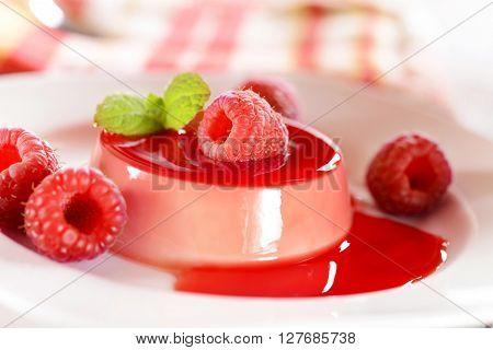 Panna Cotta Dessert With Raspberries