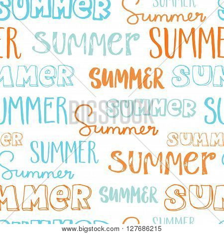 Hand-lettering seamless pattern. Word Summer in different styles. Blue and orange letters on white background.