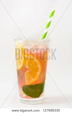 Fresh watermelon mojito isolated on white background
