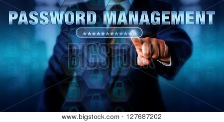 Corporate administrator is touching PASSWORD MANAGEMENT on an interactive virtual screen. Information technology concept for access control via organized management of user authentication.