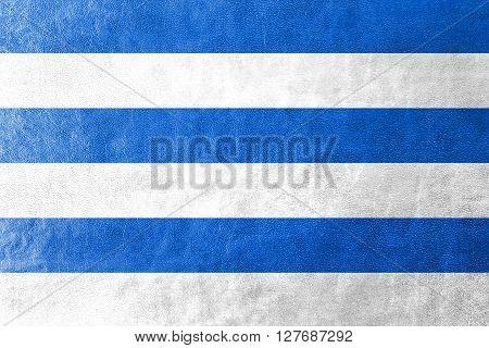 Flag Of Tallinn, Painted On Leather Texture