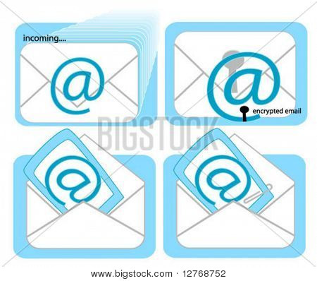 Email Icons -Incoming Email, Encrypted Email, Opened Email, Opened Email with Attachment - Vector