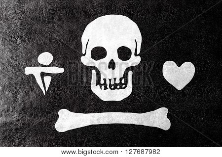 Stede Bonnet Pirate Flag, Painted On Leather Texture