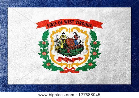 Flag Of West Virginia State, Painted On Leather Texture