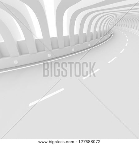 White Road Background. 3d Illustration of Abstract Tunnel