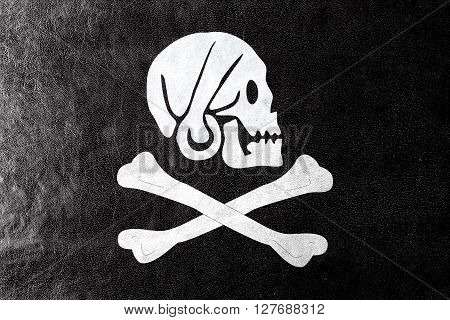 Henry Every Pirate Flag, Painted On Leather Texture