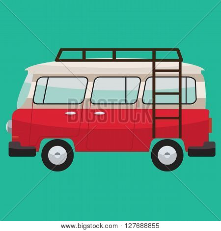 Camper van with roof bars. Summer vacation with family. Vector flat color design. Transparent glass.