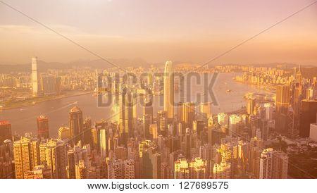 Hong Kong Sunset Cityscape City View Concept
