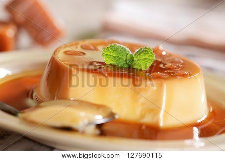 Panna Cotta Dessert With Caramel Sauce