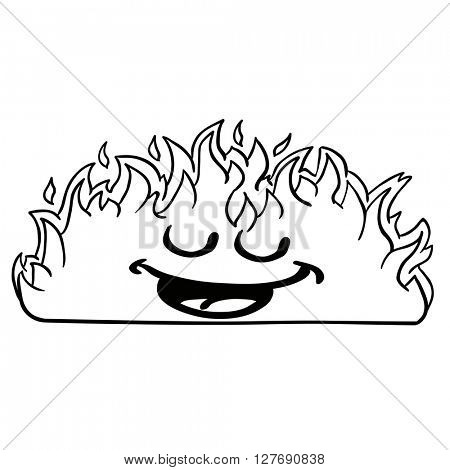 black and white happy burning fire fire cartoon illustration