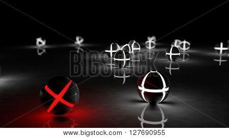 Realistic black glossy plastic spheres with luminescent cores background. Concept of uniqueness and identity. Technology abstract structure composition. Depth of field settings. 3d rendering.