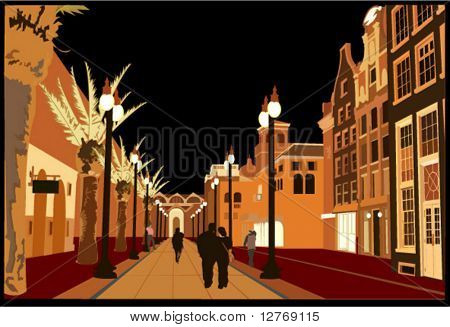 Night Urban Scene - Vector