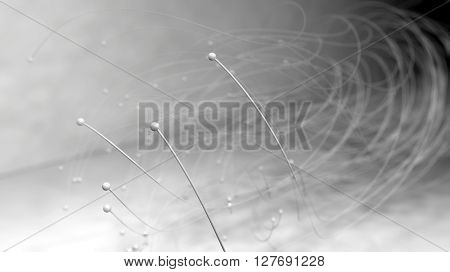 Fantasy white shapes revolving against grey background. Abstract futuristic technology composition. Depth of field settings. 3d rendering.