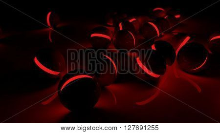 Realistic black glossy plastic spheres with red luminescent cores background. Technology abstract structure composition. Depth of field settings. 3d rendering.