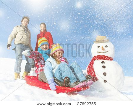 Family Enjoying The Winter Day Concept