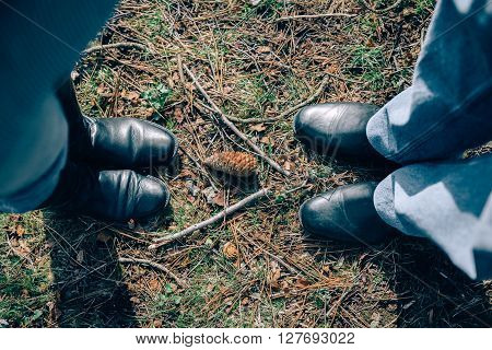 View from above of senior couple standing on grass with pine cone in the middle