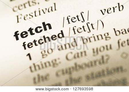 Close Up Of Old English Dictionary Page With Word Fetch.